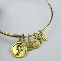 Alex and Ani style Initial P Charm Bangles Silver and Golden Plated Bracelets and Bangles Free Ship