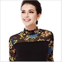 Fashion lace shirt European style women's cotton tops gauze stitching pattern wild Slim collar shirt Blouse