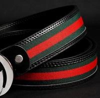 2014 Fashion brand designs G buckle canvas belt Genuine cowhide leather men belt casual belt High quality brand belt