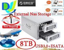 ORICO 3529SUS3 2-bays 3.5''SATAI/II/III HDD 5Gbps USB3.0/esata Nas network storage support off-line copy BT/PT download Max 8TB(China (Mainland))