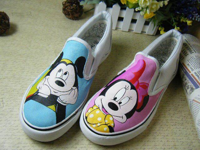mickey y minnie 2014 nuevo graffiti pintada a mano de ocio zapatos