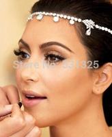 2014 New Czech Rhinestone Crystal Forehead Bridal Hair Accessories Floral Waterdrop Hair Combs Wedding Bridal Hair Jewelry