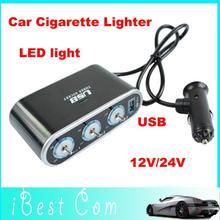 3 way Car Cigarette Lighter Socket Splitter USB Charger power Triple socket 12V 24V Charger LED light wholesale Free shi hobbies(China (Mainland))