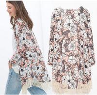 New Fashion Ladies' V neck Floral print Kimono with tassel loose vintage cape coat cardigan casual vests brand design tops