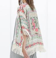 New Fashion WOMEN floral Pattern tassel Cape vintage loose Outwear casual Tops elegant Cape Lady kimono blouses branded