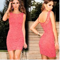 2014 New women summer pink lace dress Sleeveless tank Casual Flowers plus size Shorts woman clothes vestido de festa femininas