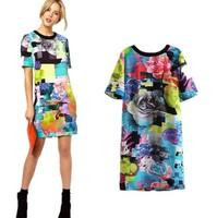 New Arrival Ladies' Fashion vintage floral print Dresses bright color short sleeve slim party evening brand designer dress