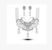 Fashion Luxury bride jewelry wedding accessories pearl women pendant necklace/earrings twinset bride wedding Jewelry Sets