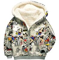Autumn and winter children hoodies long sleeve thick fleece minnie zipper sweatshirt kids boys and girls casual warm outerwear