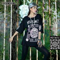 CQ-41 2014 new fashion women Autumn harajuku shirt O-neck Loose Hip hop women Half-sleeve Punk rock  european style