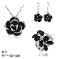 Fashion female quality flower set black rose women pendant necklace/earrings/rings three pieces bride wedding Jewelry set