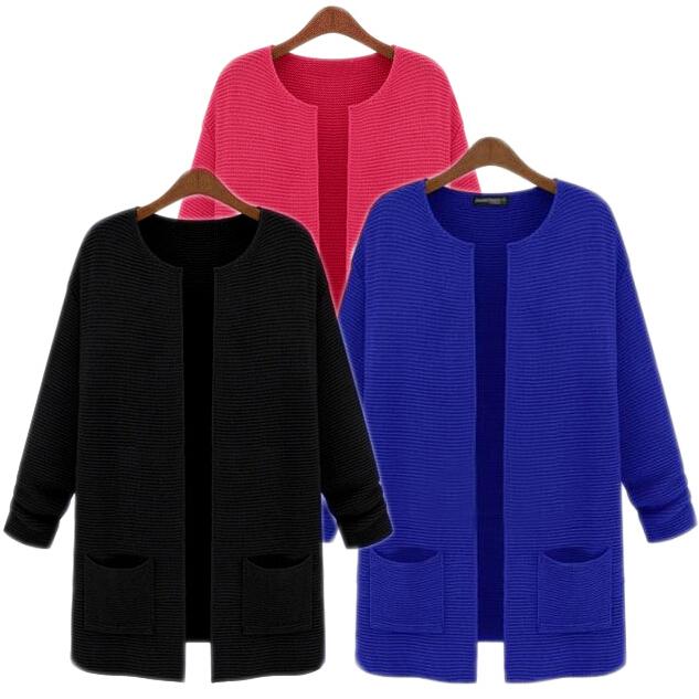 Autumn New 2014 Plus Big size Coat Overcoat Women's Long sleeve Casual Loose Knit Long Cardigan Sweater with XL,XXL,XXXL FACTORY(China (Mainland))