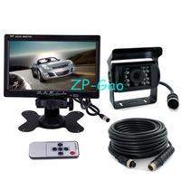 "4 Pin 7"" LCD Monitor Car Rear view Kit + 18 LED IR CCD Reversing Camera Backup System Waterproof 10pcs/lot"