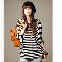 2014 Fashion Women T-shirt Geometry Black and White Stripe Clothing Knitted Cotton Loose Women Blouse