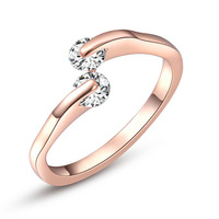 ROXI Christmas Gift Couple Genuine Austrian Crystals Rings Rose Gold Plated Jewelry Engagement Rings for Women Girlfriend