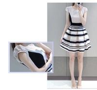Freeshipping New arrival Korean fashion chiffon organza stitching round neck striped dress princess skirt Women dresses D166