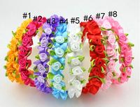 Free Shipping Lovely princess satin ribbon roses children's hair band Hair Clasp (8 Pack)