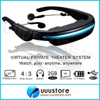 2014 New, VG280 Glasses HD 52 inch Portable Eyewear Wide Screen video Glasses Support video Music Picture e-book Built in 4GB