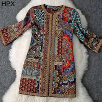 Ladies Retro Vintage Royal 3D Print Single Breast Straight Loose Long Coat,Women 2014 Autumn New Brand Overcoat European 21022