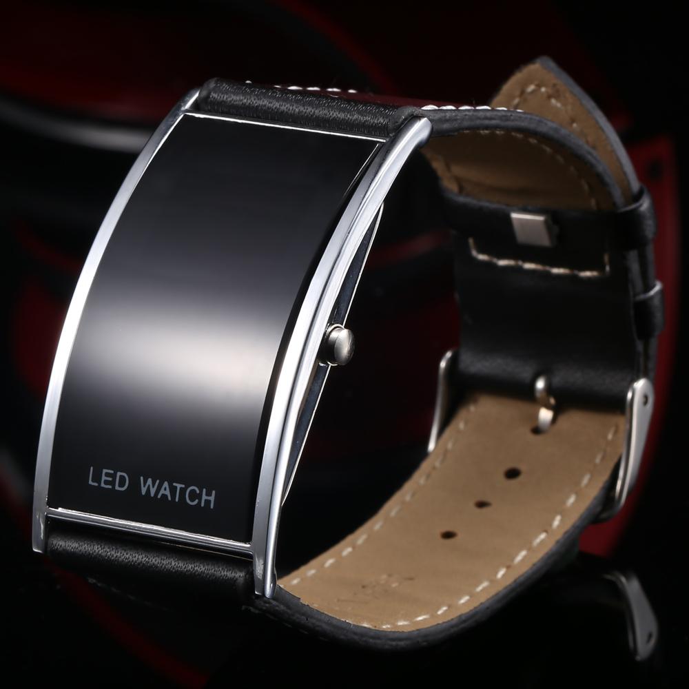 Retail Black Fashion LED Watch For Ladies Leather Bracelet Digital Wristwatches Women Boys Girls Unisex Luxury Brand Watch Men(China (Mainland))
