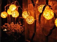 2.6M 20pcs Takraw Balls string lamp Creamy White Rattan Ball 220V for weddings&events home&garden&festival