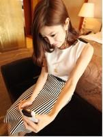 New 2014 Summer Korean Fashion  Skirts womens skirt High Quality Women Skirts Black White Striped Skirts Free Shipping 225