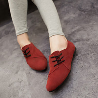 2014 spring and autumn fashion vintage velvet lacing personality low-heeled pointed toe single shoes female flat women's shoes