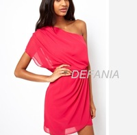 Fashion brief fashion strapless oblique solid color chiffon one-piece dress