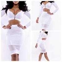 New 2014 Vestidos Summer New Fashion Women Zipper Neck High Waist Bodycon Bandage Dress Celebrity Midi Casual Two Pieces Dresses