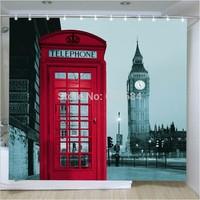 European polyester waterproof shower curtain mildew large flat screen version of Big Ben booth shower curtain hooks