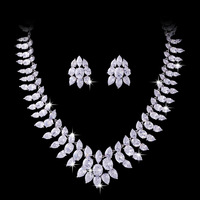 Counter top luxury zircon necklace earrings  jewellery suit