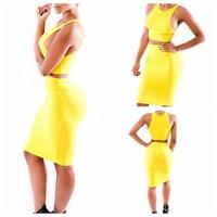 2014 Vestidos Summer New Fashion Women Sleeveless Top High Waist Bodycon Bandage Dress Celebrity Midi Casual Two Pieces Dresses