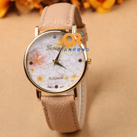 hot selling New Arrival Hot 12 colors Leather rose Flower Geneva Watch fashion Women Dress Watch free shipping  G-8018#