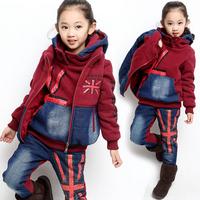 New arrival 2014 autumn and winter children clothing sets boys and girls thick fleece hoodies suit warm coat+pants+vest 3pcs set