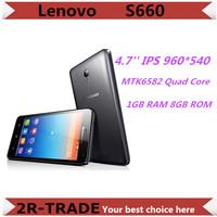 Original Lenovo S660 MTK6582 Mobile Phone Quad Core 4.7'' IPS 8MP1GB RAM 8GB ROM Android 4.2 3G WCDMA 3000mAh Battery Smartphone
