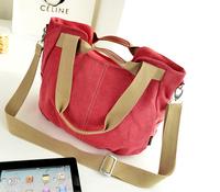 2014 spring and summer women canvas with leather female multi-purpose bucket portable shoulder diagonal cloth bag handbags Y9