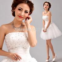 2014 new Korean short white tee princess bridesmaid dress