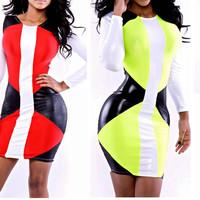 2014 New Vestidos Summer New Fashion Women 3colors Patchwork High Waist Bodycon Bandage Dress Celebrity Midi Casual Dresses