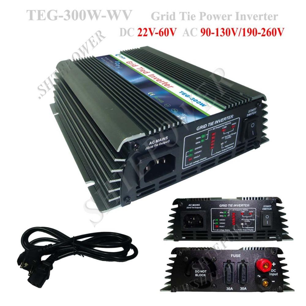 dc 22-60v to ac 110v/230v solar inverter 300w micro inverter grid tie solar(China (Mainland))