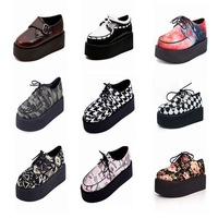 2014 New Hot Selling England Women's Flat thick Platform Women fashion lace-up Shoes Creeper Shoes S211