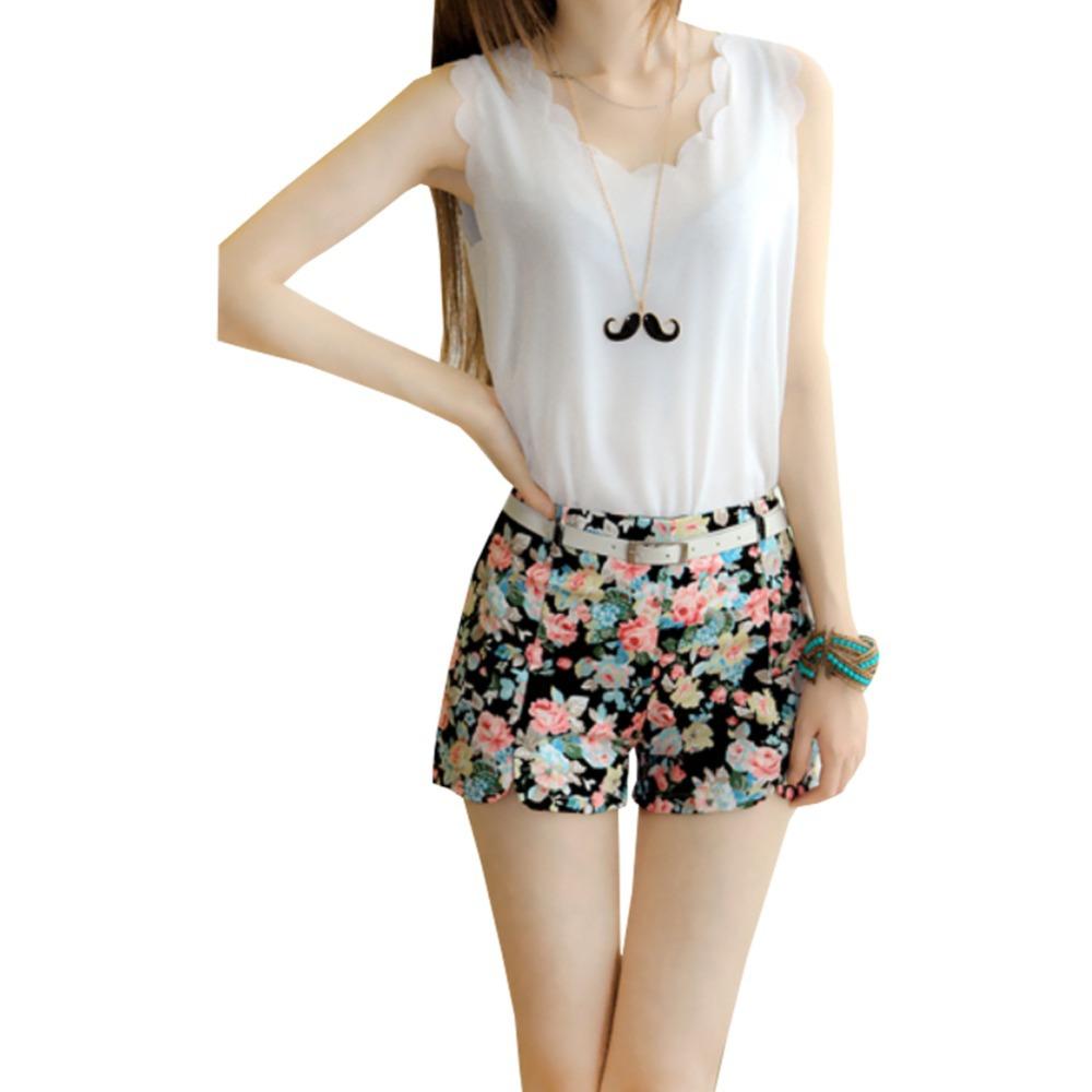 2014 European Womens summer short Floral Elastic High Waist shorts Hot Pant Shorts Mini short Pants(China (Mainland))