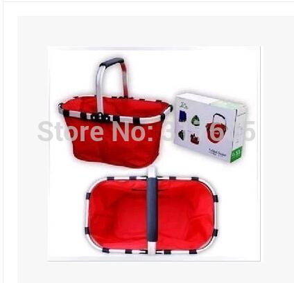 Free shipping wholesale shopping basket picnic portable folded basket Aluminum alloy +600D Oxford cloth(China (Mainland))