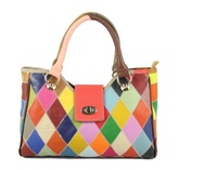 Fashion patchwork colorful genuine leather women's handbag elegant cow leather fashion shoulder bags women totes 87062