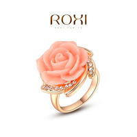 ROXI 2014 Free Shipping Platinum Plated Romantic Elegant Pink Rose Ring Statement Rings Fashion Jewelry For Women Party Wedding