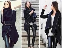 Winter Woollen Coat Women Long Zipper Jacket 2014 New Fashion Top Quality desigual Trench female Overcoat casacos femininos