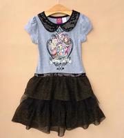 Free shipping baby clothing children girls girl ever after high short sleeves dress summer dress apparel