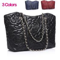 2014 Vintage bags handbags women famous brands genuine leather messenger bag Sheepskin Women's Patented Plaid Chain shoulder bag