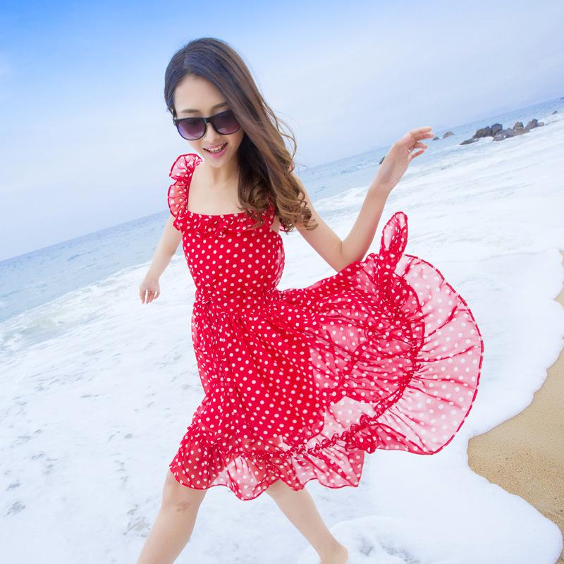 vestido de verão praia doce ponto brilhante lindo babados geração halter chiffon cocktail denim flor menina vestidos de dama de honra(China (Mainland))