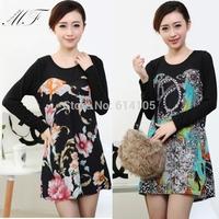 Big Size Clothing Print Floral Elegant Long Sleeve Black Dresses Plus Size  Women Autumn Winter Dress