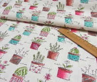 Green Plants printed  linen cotton upholstery patchwork fabric,quilting home textile cloth for sewing diy 140cm wide 1 yard